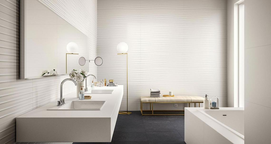 Essenziale - Weiße Keramik mit 3D-Relief für das Bad | Marazzi