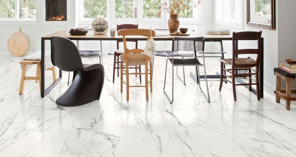 Preview minimal interieur feinsteinzeug in marmoroptik marazzi