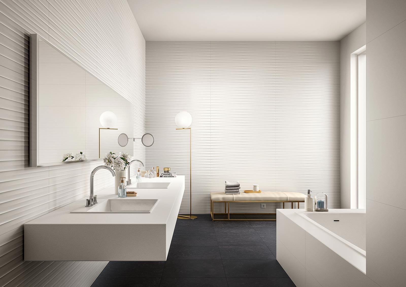 essenziale - weiße keramik mit 3d-relief für das bad | marazzi, Badezimmer ideen